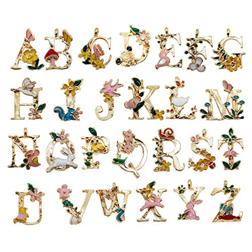 (26 Initial Alphabet Letter Charms Pendants Garden Fairy Tale Princess Kids Children Style for Jewelry Craft DIY)