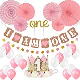 """First Birthday Girl Decoration-Baby Girl 1st Birthday Party Hat Princess Tiara Crown, Cake Topper''One'', """"I Am One""""and''Stars''Banner,Pink Hanging Paper Fan Flower,Pink and white balloons"""