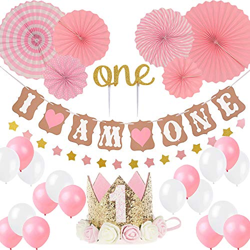 "(LQSmile First Birthday Girl Decoration-Baby Girl 1st Birthday Party Hat Princess Tiara Crown, Cake Topper One, ""I Am One""and Stars Banner,Pink Hanging Paper Fan Flower,Pink and White Balloons)"