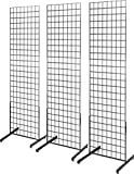 Only Garment Racks 2' x 6' Gridwall Panel Tower with T-Base Floorstanding Display Kit, 3-Pack Black …