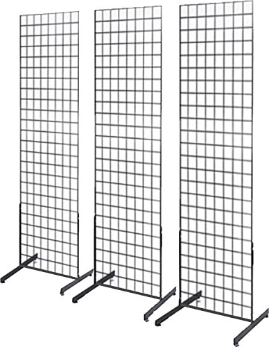 Only Garment Racks 2' x 6' Gridwall Panel Tower with T-Base Floorstanding Display Kit, 3-Pack Black ...