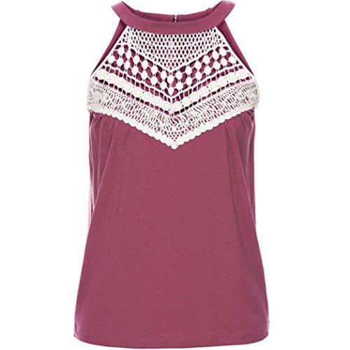 FNKDOR Mujeres Verano chaleco Tops camisa sin mangas blusa casual camisetas sin mangas Rosa