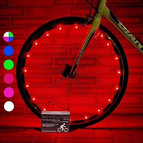 Activ Life Bicycle Tire Lights (1 Wheel, Red) Hot LED Bday Gift Ideas & Presents for Christmas - Popular Friday Black and Monday Cyber Special Sale for Him or Her - Men, Women, Kids & Fun Teens ()