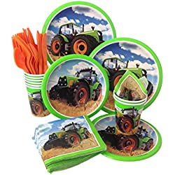 Farm Tractor Birthday Party Supply Pack! Bundle Includes Paper Plates, Napkins, Cups & Silverware for 8 Guests