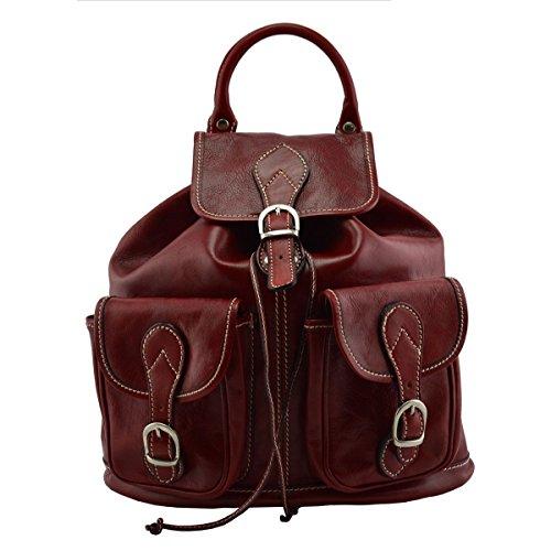 5c32cc424f120 Rucksack Aus Echtem Leder Farbe Rot Italienische Lederwaren Rucksack ...