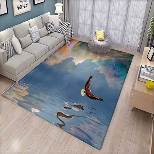 Eagle Bath Mats Carpet Majestic Huge Bird Flying Above The Sea into The Starry Sky Freedom Themed Image Door Mats for Inside Non Slip Backing Multicolor ()