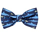 OCIA Pre-Tied Bow Tie Pattern Adjustable Bowties Blue Shark