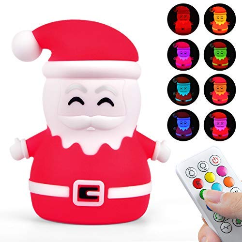 Kids Night Light Cute Santa Claus Touch Sensor Multi-Color Changing LED Silicone Nightlight Tap Control USB Rechargeable Lamp with Remote Controller for Children Girls Women Christmas Birthday Gift ()