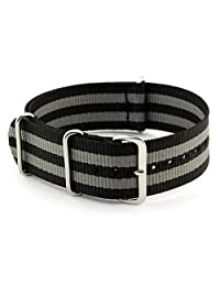 NATO G10 Nylon Premium Quality Replacement Watch Band Strap - 22mm / Black Double Grey - FITS ALL WATCHES - (Military Army, J. Crew, Timex Weekender, Daniel Wellington, Urban Outfitters, Luminox, Seiko, Citizen, Blackout Watches, Victorinox Swiss Army, Rolex and more‎)