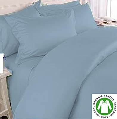 Organic Cotton Bed Sheet Set. Soft and Luxurious. (Queen, Blue)