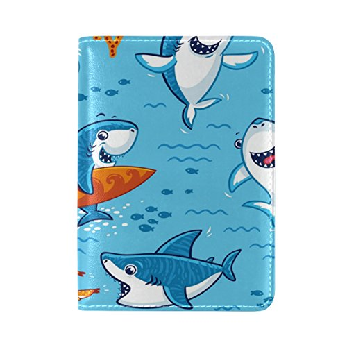 ALAZA Cute Cartoon Shark PU Leather Passport Holder Cover Case Travel One Pocket