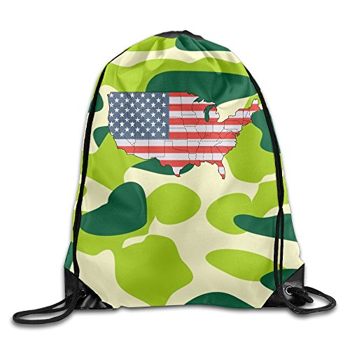 2018 Vintage American Flag Map Drawstring Bags Camper Backpack Sport Bag For Men & Women