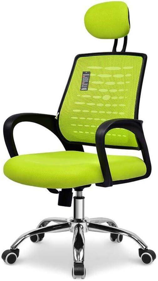 人間工学に基づいたメッシュスイベルエグゼクティブチェア、高さ調節可能なヘッドアームレストランバーサポートオフィスチェア (Color : Green, Size : A)