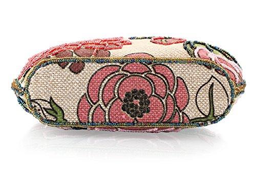 Bolos de noche elegante adornado con perlas con correa para mujer de Kemrrey rosa