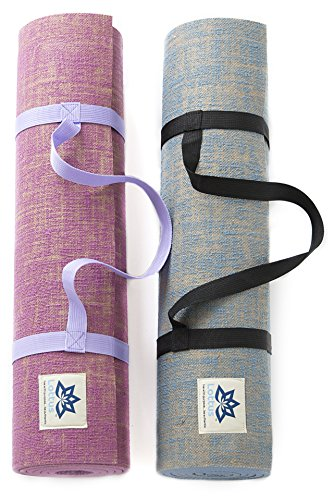 "Natural Jute Fiber Premium Yoga & Exercise Mat with Strap – Durable Extra Thick 8mm Mat – Eco-Friendly & Non-Toxic – Extra Long 72"" – Unique Designer Colors"