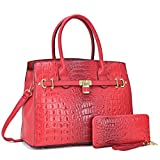Women Patent Leather Crocodile Embossed Handbags 2 Pieces Wallet Set Purse Red
