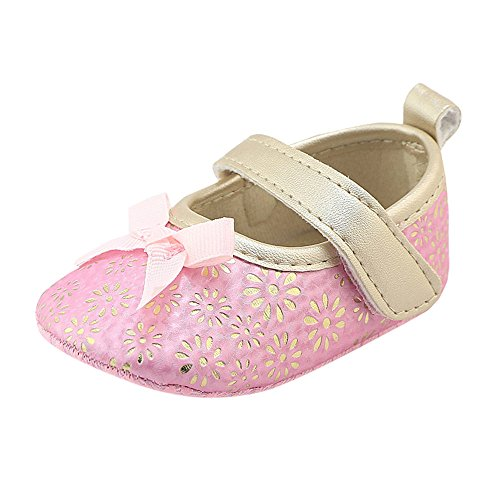 Beppter Girls Leather Bows Design Soft Round Hollow Toe Princess Shoes Mary Jane Flat Shoes(Toddler/Little Kid) 0-18 Months(Pink, 0-6Month) -