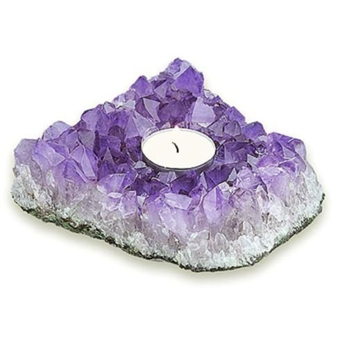 Compare Prices On Purple Kitchen Decor Online Shopping: Purple Gemstone Amethyst Stone Candle Holder Ornament