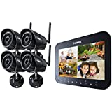 Lorex LW1744B Wireless Video Surveillance System Series with 7-Inch LCD Monitor and 4 Camera (Black)