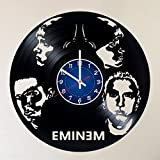 EMINEM Vinyl Record Wall Clock – RAP GOD – Get unique Garage wall decor – MUSIC- Gift ideas for friends, teens ROCK n ROLL KING– POP ROCK MUSIC Unique Modern Art – Eminem King of Hip Hop in USA Review