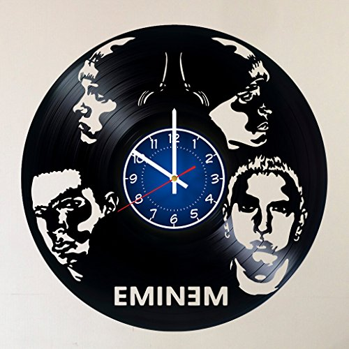 EMINEM Vinyl Record Wall Clock - RAP GOD - Get unique Garage wall decor - MUSIC- Gift ideas for friends, teens ROCK n ROLL KING– POP ROCK MUSIC Unique Modern Art - Eminem King of Hip Hop in USA