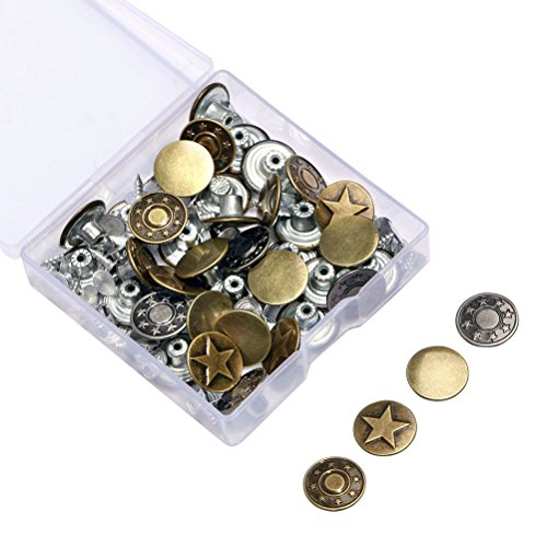 Jeans Buttons Metal Tack Buttons Replacement Kit 40 Pieces Button Studs with Storage Box,4 Styles,Bronze (Button Replacement Kit)