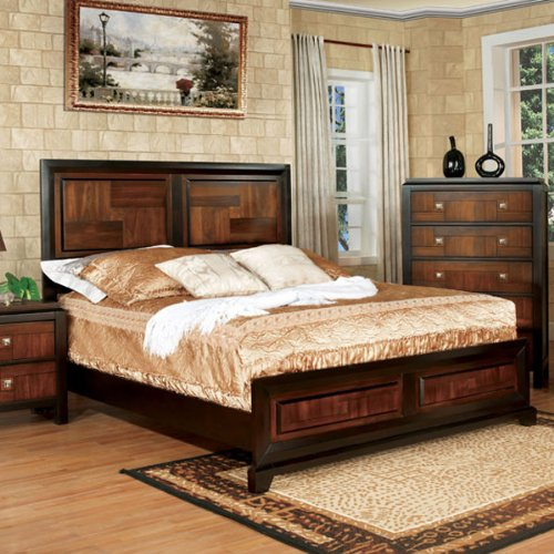 [Patra Asian Contemporary Style Acacia Walnut Finish Queen Size Bed Frame Set] (Asian Bed)