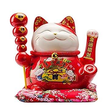 Maneki Neko Porcelana Gato de la Suerte Afortunado Gato agitando el Brazo Waving Arm Lucky bendición,Rojo L26*W19*H23cm, 1: Amazon.es: Hogar