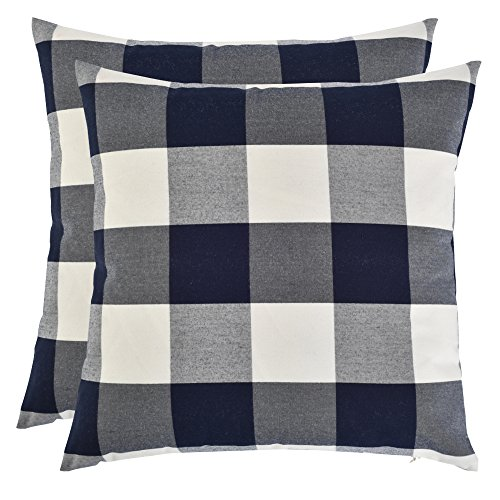 Set of 2, Artcest Decorative Cotton Blend Dyed Bed Throw Pillow Case, Sofa Durable Plaid Pattern, Comfortable Couch Cushion Cover (Taupe, 18 X 18 Inches) ()
