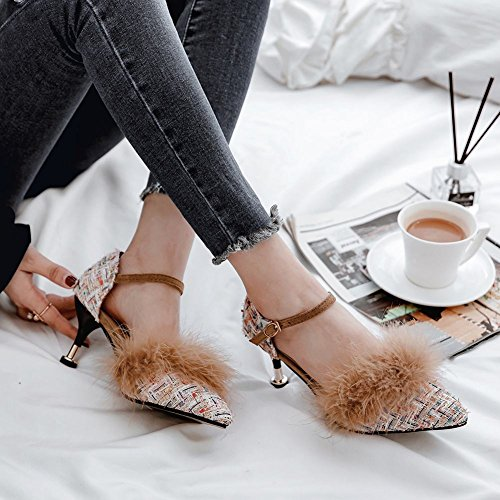 Mee Shoes Damen Ankle Strap Schnalle mit Pelz Pumps Weiß