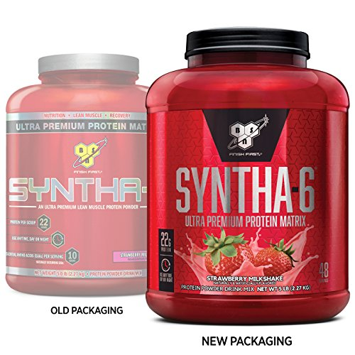 BSN SYNTHA-6 Whey Protein Powder, Micellar Casein, Milk Protein Isolate Powder, Strawberry Milkshake, 48 Servings (Package May Vary)