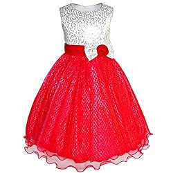 Girls Sequin Glitter Bridesmaid Dress