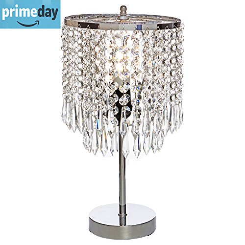 POPILION Elegant Decorative Chrome Living Room Bedside Crystal Table Lamp,Desk Lamp with Crystal Shade for Bedroom Living Room Coffee Table Bookcase (Lamp Chrome Table Lamp)
