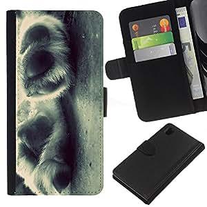 EJOY---La carpeta del tirón la caja de cuero de alta calidad de la PU Caso protector / Sony Xperia Z1 L39 / --Puppy Paws Blanco Negro Canino