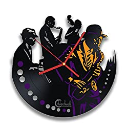 Retro Jazz Band, Musical Instruments Saxophone Player Music Melody Improvisation, Handmade Solutions Vinyl Record Wall Clock With Bright Acrylic Stickers