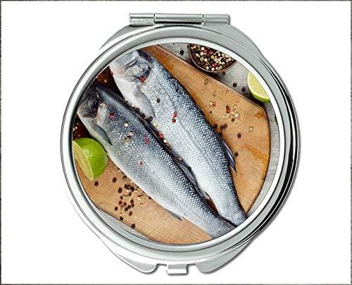 Mirror,Compact Mirror,Mandarinfish theme of Pocket Mirror,portable mirror 1 X 2X -