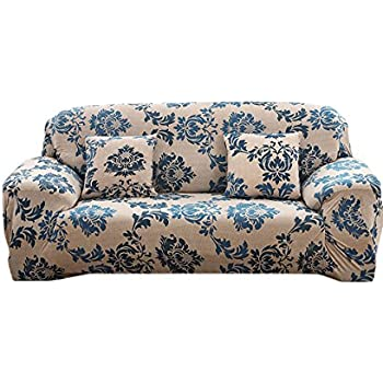 Elvoes Floral Printed Sofa Cover Anti Slip Elastic Slipcover Stretch  Polyester Fabric Soft Furniture Protector Couch Cover (Three  Seater(74u0027u0027 90u0027u0027), ...