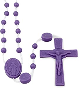 Miraculous Medal Purple Plastic Beads Rosary - 25 Pack