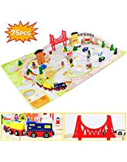 jerryvon Wooden Trains Sets Railway Tracks Toys 75 PCS Train Track Set Car Accessories Assemble Buildings Bridge Role Playing Games Birthday Gift for 3 4 5 6 Years Old Children Boys Girls