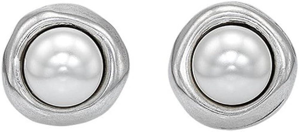 Uno De 50 PEN0461BPLMTL0U - Pendientes para mujer bañados en plata y perla blanca