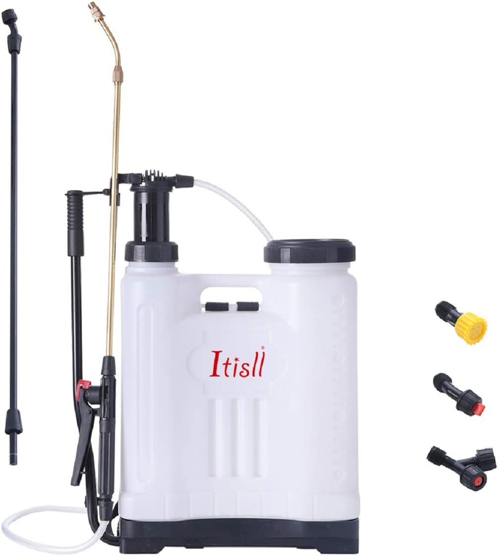ITISLL 4 Gallon Backpack Sprayer, Leak-Free Pump Sprayer with Telescopic Brass Wand, Durable Polyethylene Wand and 4 Nozzles for Garden and Lawn 15liter (919NK15)