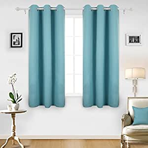 Deconovo Room Darkening Thermal Insulated Blackout Grommet Window Curtain Panel for Living Room, Teal Blue,42x63-inch,1 Panel