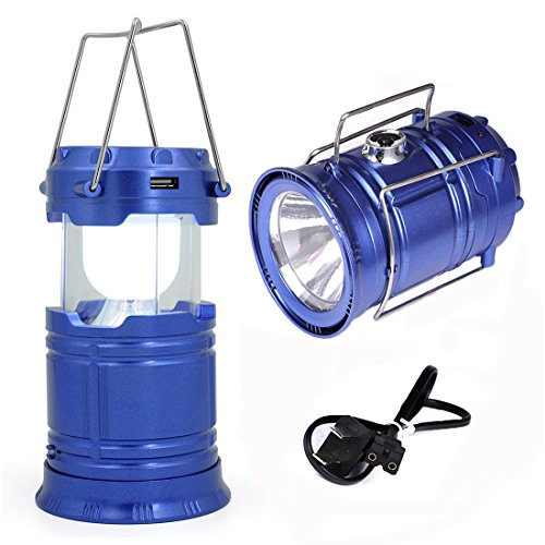 2Pack Camping Solar Lantern Flashlights Outdoor Indoor, WSMY Rechargeable Super Bright 6 LED Lights Hand Torch Lighting for Kids, Blackout, Emergency, Hiking, Backpacking, Gifts (Blue) (Bright Solar Flashlight)