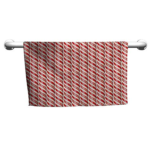 - duommhome Candy Cane Soft Bath Towel Red Christmas Candies Pattern with Diagonal Stripes Traditional Winter Sweets W8 x L23 Red Cream