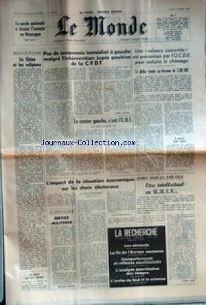 MONDE (LE) [No 10291] du 02/03/1978 - LA GARDE NATIONALE A ECRASE L'EMEUTE AU NICARAGUA - LA CHINE ET LES RELIGIONS - LES DETTES DES PAYS PAUVRES - PAS DE COMPROMIS IMMEDIAT A GAUCHE MALGRE L'INTERVENTION JUGEE POSITIVE DE LA C.F.D.T. PAR ANDRE LAURENS - LE CENTRE GAUCHE, C'EST L'U.D.F. PAR RENE MONORY - L'IMPACT DE LA SITUATION ECONOMIQUE SUR LES CHOIX ELECTORAUX PAR JEAN-DOMINIQUE LAFAY - SERVICE MILITERRE PAR BERNARD CHAPUIS - UNE RELANCE CONCERTEE EST PRECONISEE PAR L'O.C.D.E. P