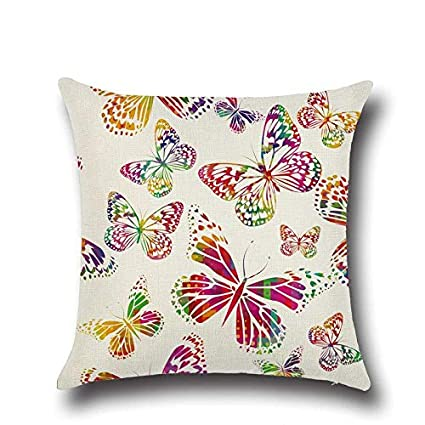 Amazon.com: 1 Pcs Butterfly Pattern Cotton Linen Throw ...
