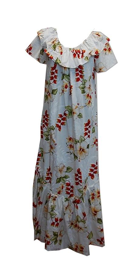 dfff9e8b3362 Jade Fashions Inc. Women Hawaiian Long Double Ruffle Heliconia White Muumuu  at Amazon Women's Clothing store: