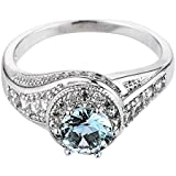 Women Fashion 925 Sterling Silver Aquamarine Gemstone Ring Wedding Jewelry New (10)