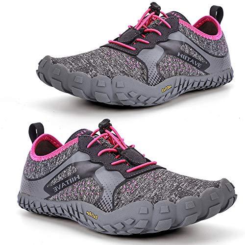 (ALEADER hiitave Womens Barefoot Cross Training Shoes Wide Toe Minimalist Trail Runners Dark Gray/Fushia US 8/8.5)