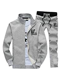 BYWX-Men 2 Piece Jacket and Pants Zipper Slim Fit Jogging Track Suit Set